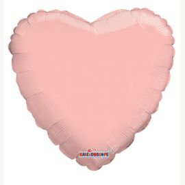 18 INCH SOLID COLOUR ROSE GOLD HEART PKD