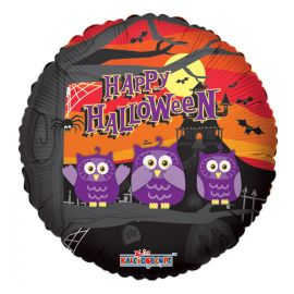 HAPPY HALLOWEEN WITH OWLS 18INCH FOIL BALLOON