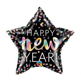 20 INCH HAPPY NEW YEAR CONFETTI STAR FOIL 071444149808