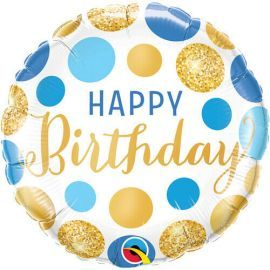 18 INCH BDAY BLUE AND GOLD DOTS 18871 071444188692