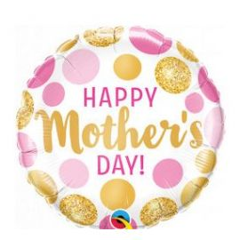 9 INCH HAPPY MOTHERS DAY PINK AND GOLD DOTS FOIL 071444736572