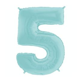 26 INCH PASTEL BLUE NUMBER 5 BALLOON