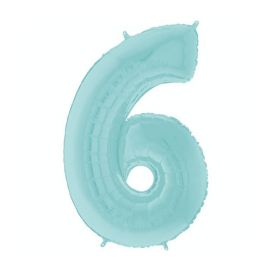 26 INCH PASTEL BLUE NUMBER 6 BALLOON