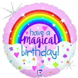 18 INCH GLITTER MAGICAL RAINBOW BIRTHDAY 36698GH 8055513366985