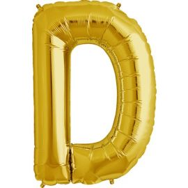 34 INCH GOLD LETTER D BALLOON