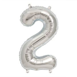 16 INCH NUMBER 2 SILVER AIR FILLED BALLOON