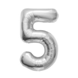 16 INCH NUMBER 5 SILVER AIR FILLED BALLOON