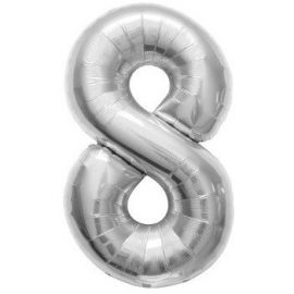 16 INCH NUMBER 8 SILVER AIR FILLED BALLOON