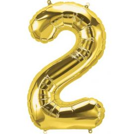 16 INCH NUMBER 2 GOLD AIR FILLED BALLOON