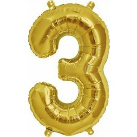 16 INCH NUMBER 3 GOLD AIR FILLED BALLOON