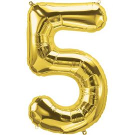 16 INCH NUMBER 5 GOLD AIR FILLED BALLOON