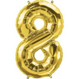 16 INCH NUMBER 8 GOLD AIR FILLED BALLOON