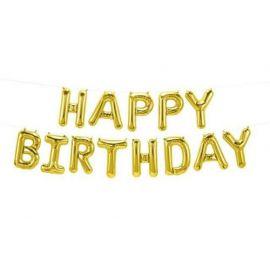 16 INCH 13 PC HAPPY BIRTHDAY KIT GOLD AIR FILL 597 847881012292