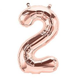 16 INCH NUMBER 2 ROSE GOLD AIR FILLED BALLOON