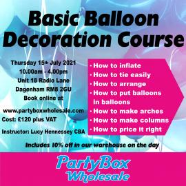 BASIC BALLOON DECORATION COURSE THURSDAY 15TH JULY 2021