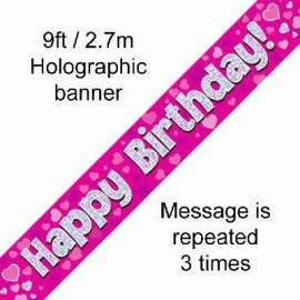 9FT BANNER PINK HOLO HAPPY BIRTHDAY