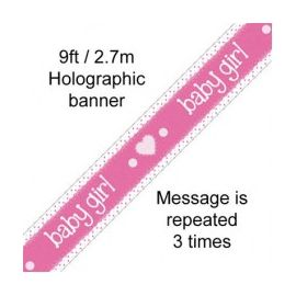 ITS A GIRL HOLOGRAPHIC BANNER 2.7M